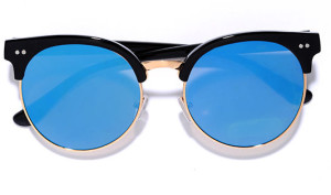 Black and Blue Mirrored Sunglasses LuLus